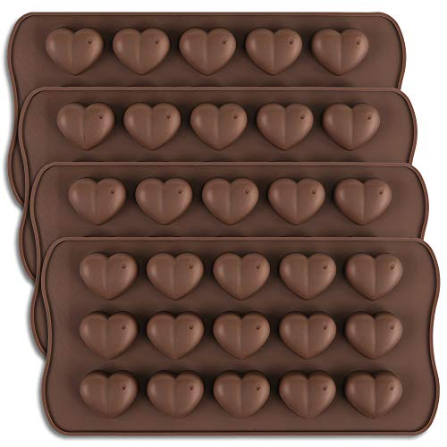 homEdge Molde de chocolate con forma de corazón con hoyuelos de 15 cavidades, silicona hoyuelos...