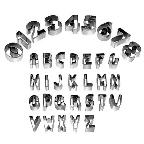 HUAFA 35 piezas Cookie cortadores de fondant – juego de Alfabeto número símbolos matemáticos...