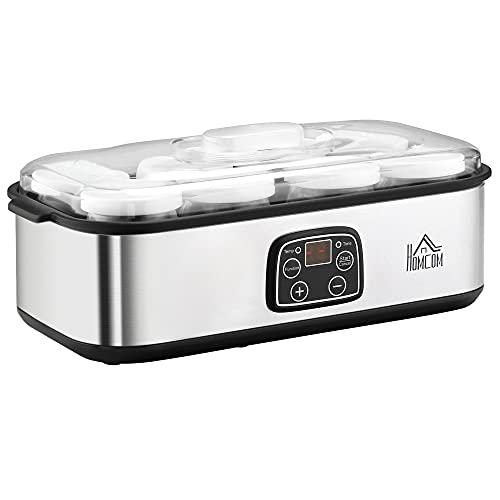 HOMCOM Yogurtera 30W Capacidad 1,44L con 8 Tarros de Cristal de 180 ml Termostato Ajustable...