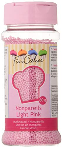 FunCakes Sprinkles Decoraciones NonPareils de Color Rosa Claro para Decorar Tartas, Cupcakes,...