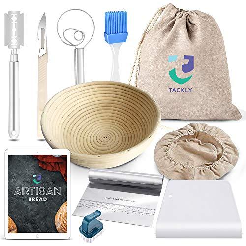 TACKLY Kit para Hacer Pan con Receta y Pack de Utensilios panadería – Banneton para Pan, Cesta de...