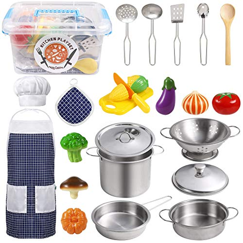 EFO SHM Juguetes de Cocina para niños Accesorios, 23 Piezas Juguetes de Chef para Niños, Cocina de...