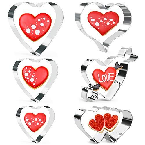 Juego de 6 cortadores de galletas Olywee para el día de San Valentín, para cumpleaños, boda,...