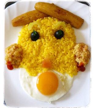 arroz a la cubana para niños