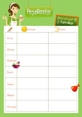 plantilla menu semanal infantil