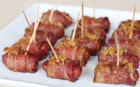 These cute little sausage and bacon bites are finger-licking good. They have a sweet and salty taste that's fun for breakfast or as an appetizer.