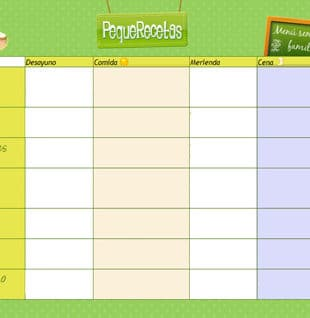 Plantilla menu semanal
