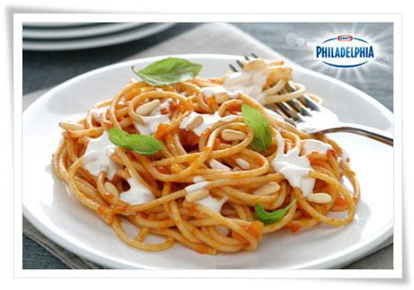 espaguetis con tomate y philadelphia pequerecetas