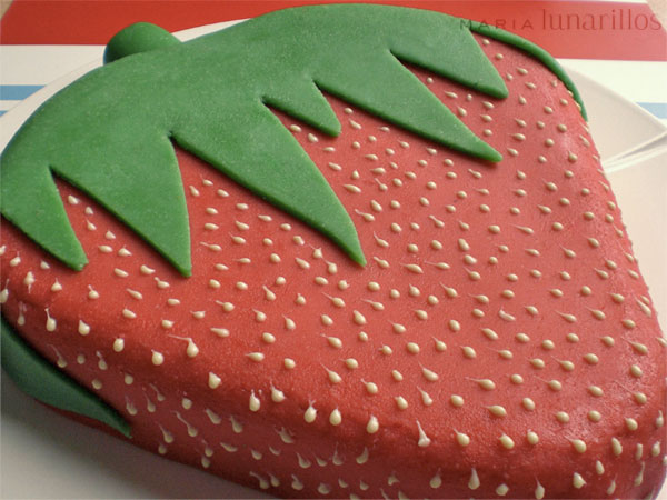 tarta fondant de fresa
