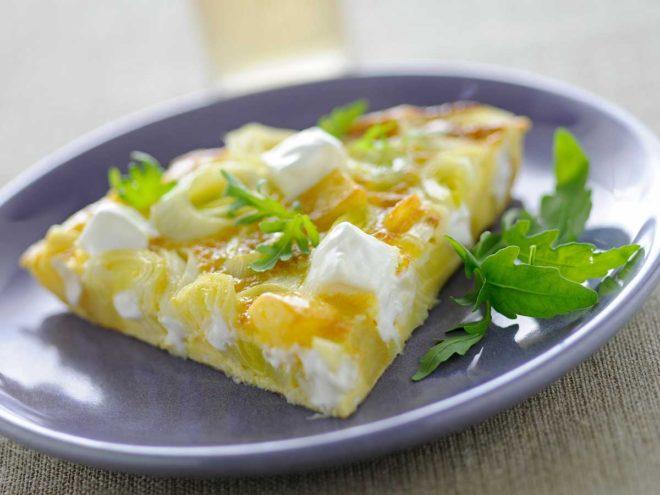 tortilla de puerros y patatas