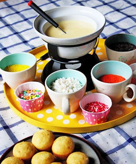Postres originales fondue cupcakes