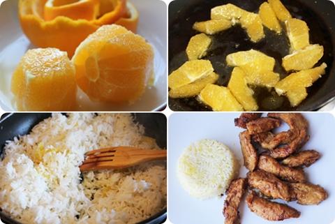 Pollo con arroz a la naranja