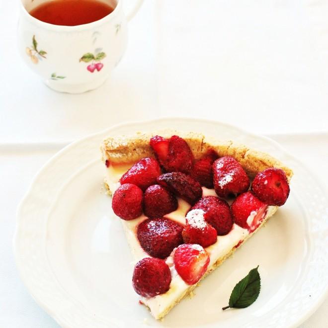tarta chcocolate blanco y fresas