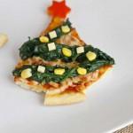 Pizza de espinacas navideña