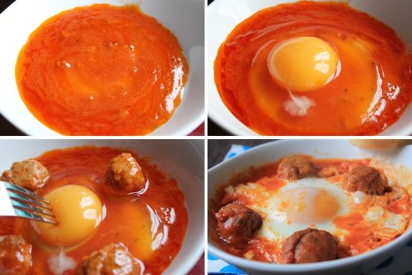 Huevos al plato con albondigas de atun paso a paso