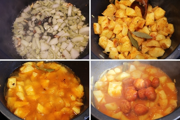 Patatas guisadas con albondigas de atun Isabel, paso a paso