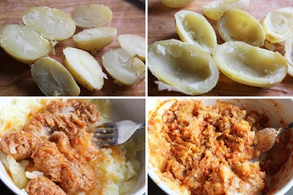 Patatas rellenas de albondigas de atun Isabel paso a paso