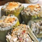 Alcachofas rellenas de jamón y huevo