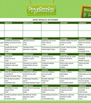 menú semanal de comidas familiares septiembre