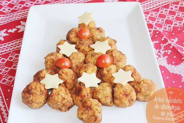 Albondigas de pollo abeto navideño