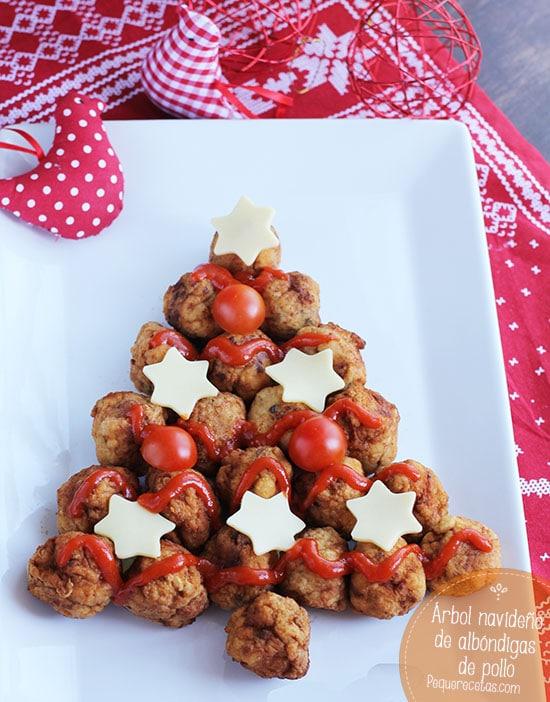 Arbol navideño albondigas pollo