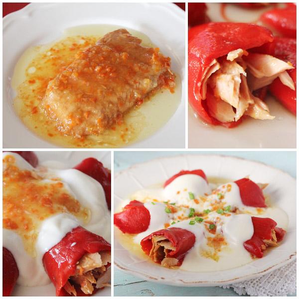Pimientos del piquillo rellenos de de atun en salsa Isabel paso a paso