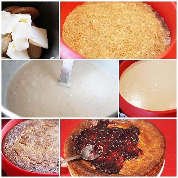Tarta de chocolate blanco, queso y frutos rojos, pasos