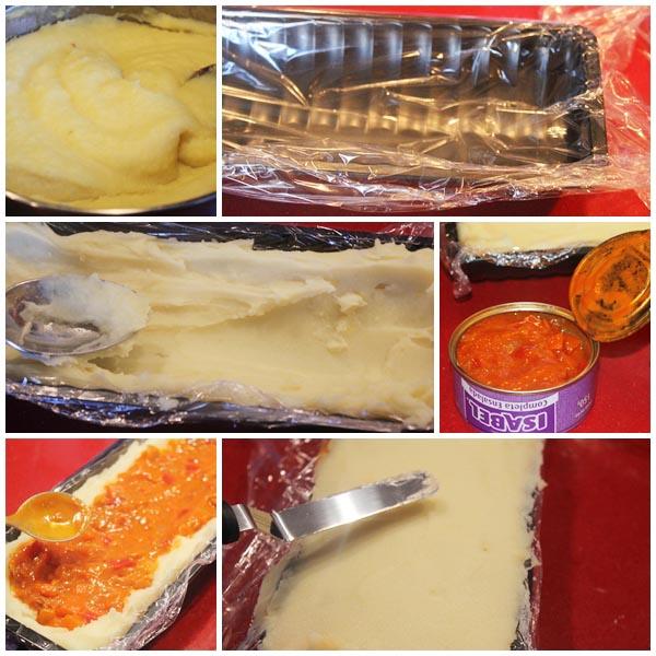 Brazo de gitano de patata con ensalada Isabel pasos