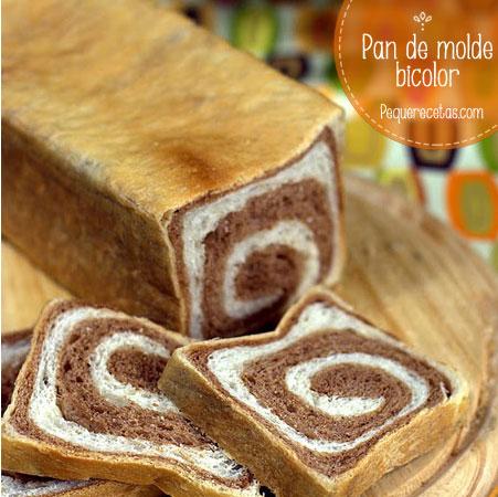 Pan de molde bicolor, receta divertida