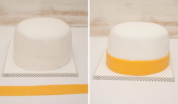 cómo hacer una tarta fondant de Daisy
