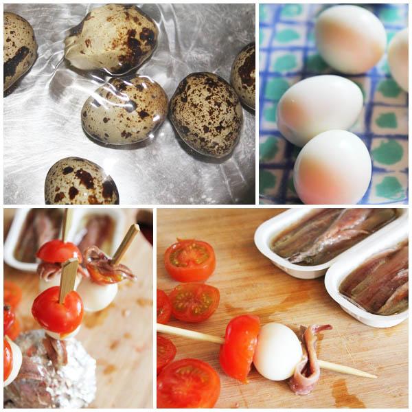 Pincho de tomatito, huevo de codorniz y anchoas Isabel