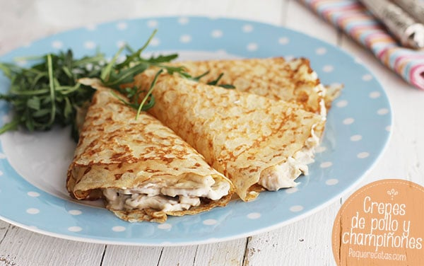 receta crepes pollo champiñones