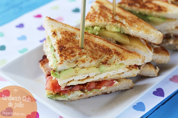 receta sandwich club de pollo