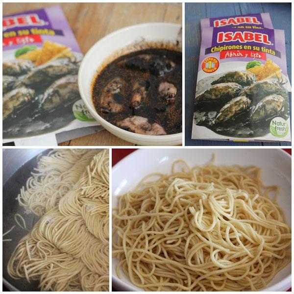 Noodles con chipirones en su tinta Isabel pasos