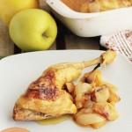 Pollo asado con manzanas, ¡riquísimo!