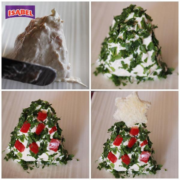Dip Navidad atun y queso pasos