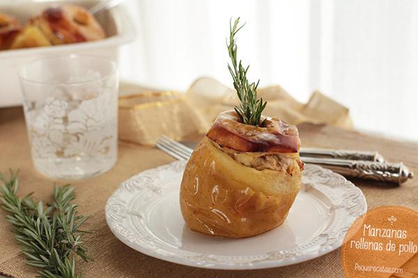Manzanas rellenas de pollo, pasas y piñones