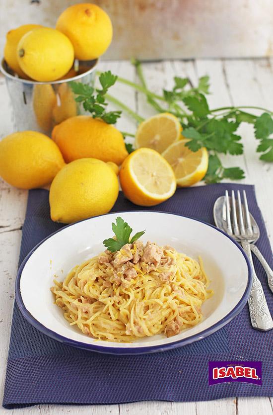 Espaguetis al limon con atun