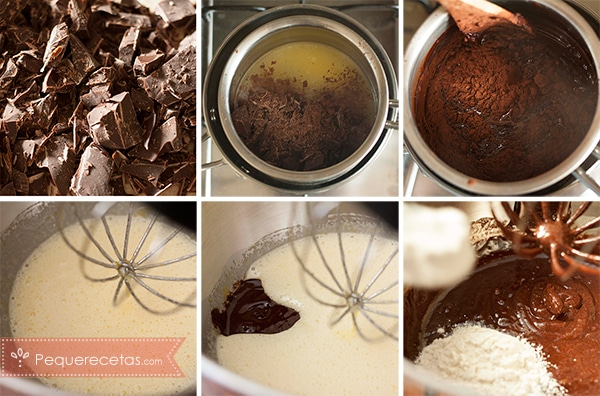 como preparar brownie de chocolate paso a paso