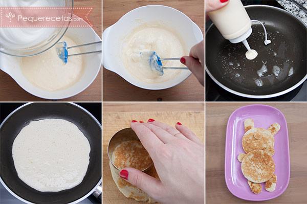 paso a paso para preparar tortitas americanas en forma de osito