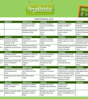 menu recetas semanal familiar verano