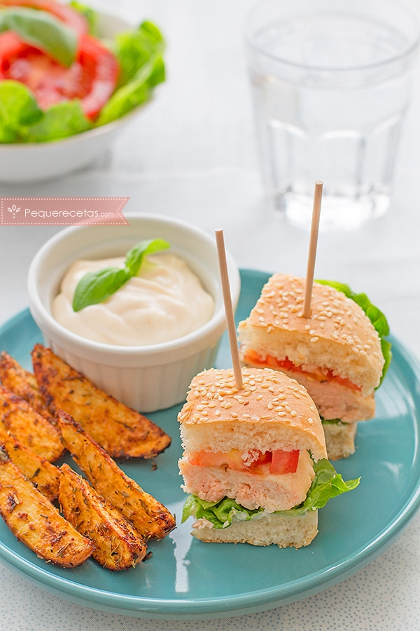 textura hamburguesa de salmón y merluza