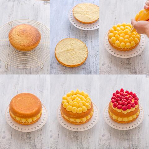 decoración bizcocho crema pastelera con frambuesas