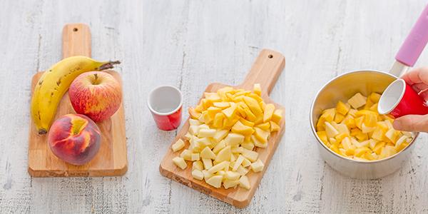 paso a paso patito melocotón, plátano y manzana