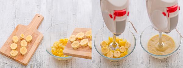 paso a paso potito plátano, manzana y melocotón