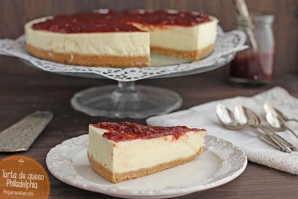 tarta de queso con gelatina neutra en laminas