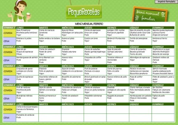Menú semanal para niños, febrero 2016