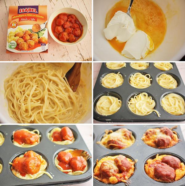 Minipies espaguetis y albondigas pasos