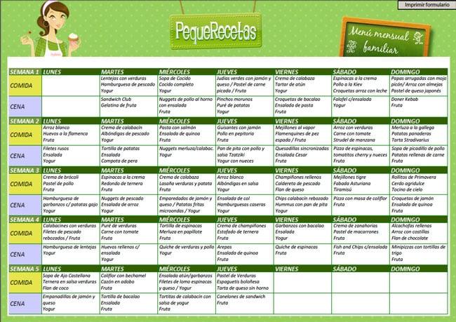 menu semanal marzo 2016