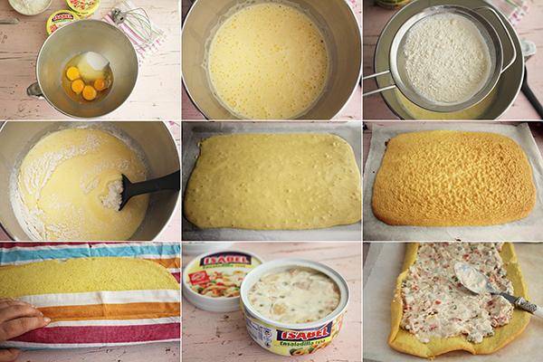 Brazo salado ensalada rusa pasos